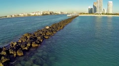 Aerial South Pointe Rock Jetty Clip 8 Stock Footage