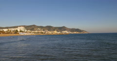 Sun light sitges panoramic coast view 4k spain Stock Footage