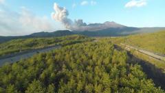 Aerial Footage Of Sakurajima Volcano Erupting Stock Footage