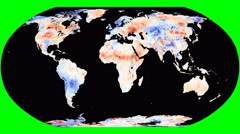 NEO - Land Surface Temperature Anomally. Robinson. Rotating - stock footage