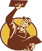 plasterer worker tradesman plastering retro. - stock illustration