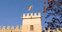 Valencia day light silk exchange flag top 4k spain Stock Footage