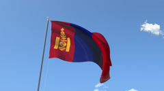 The flag of Mongolia Waving on the Wind. - stock footage