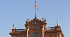 Seville plaza de espana main flag  4k spain Stock Footage