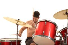 young male drummer - stock photo