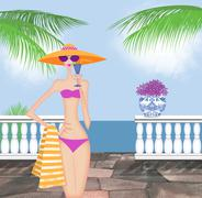 Stock Illustration of Chic Young Woman in a Bikini Holding a Drink