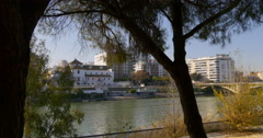 Seville day light river view 4k spain Stock Footage