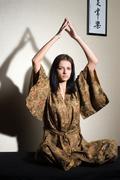 Meditative girl - stock photo