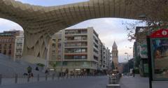 seville metropol parasol street 4k spain - stock footage
