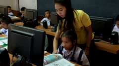 Children are learning computer Thailand - stock footage