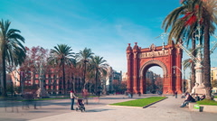 Barcelona sun light arc de triomf panorama 4k time lapse spain Stock Footage