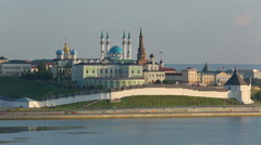 Kazan kremlin with reflection in river at sunset - russia Stock Footage