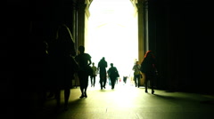 Silhouette of people walking at Louvre Museum Pyramids. Stock Footage