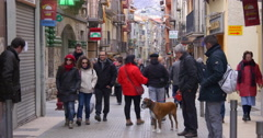 Mountain town main crowded street camprodon 4k spain Stock Footage