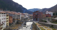 Mountain old town river camprodon 4k spain Stock Footage