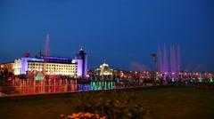 Fountains at night in Kazan, Tatarstan, Russia Stock Footage