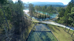 Wonderful park with water scene from air 4K Stock Footage