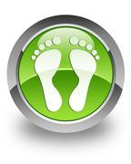 Footprint glossy icon - stock photo