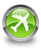 Airplane glossy icon Stock Photos