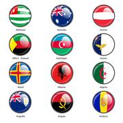 Set circle icon  Flags of world sovereign states. Vector illustration - stock illustration