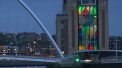 The Sage and Tyne bridges at dusk, Newcastle Stock Footage