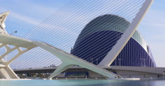 Valencia day light agora bridge and aquarium view 4k spain Stock Footage