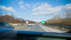 Highway road shot from car windshield - stock footage
