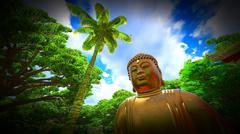 Buddha Statue in Japanese garden - stock illustration