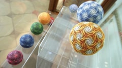 Colorful Temari balls Stock Footage