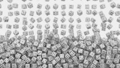 White dice fall Stock Footage