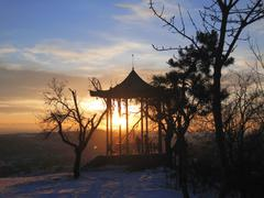 Chinese arbor. North Caucasus landmarks. Winter Pyatigorsk Stock Photos