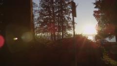 Slomo - Sunlight Trees Ocean Freighter Stock Footage