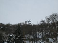 Chinese arbor. North Caucasus landmarks. Winter Pyatigorsk - stock photo