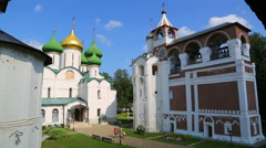 Transfiguration Cathedral and bell tower in Suzdal, Russia - timelapse Stock Footage
