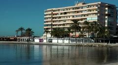 Spain Mallorca Island Palma Can Pastilla 010 apartment building in small bay - stock footage