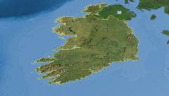 Ireland, glide over the map, outlined Stock Footage