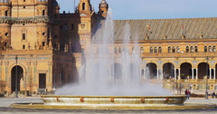 Sun light fountain of plaza de espana 4k seville spain Stock Footage