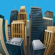 illustration of panoramic fisheye lens cityscape view. city - stock illustration
