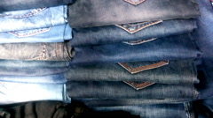 Cotton jeans tilt shot - stock footage
