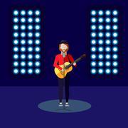 flat illustration of singer on stage. music performance - stock illustration