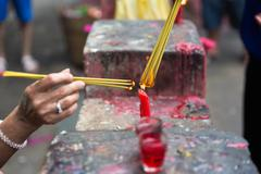 Burning joss sticks at Lunar New Year , Saigon, Vietnam Stock Photos