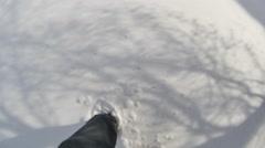 Walking through snow walk Stock Footage