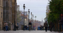 Seville day light walking street 4k spain Stock Footage