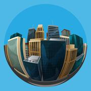 illustration of fisheye lens cityscape view. city - stock illustration