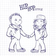 Stock Illustration of Hip hop boy and girl holding hands, vector  illustration