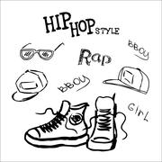 Set hip hop style accessories Stock Illustration
