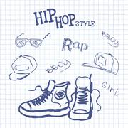 Stock Illustration of set hip hop style accessories