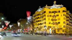 Night light barcelona traffic view on gaudi casa mila 4k time lapse spain Stock Footage