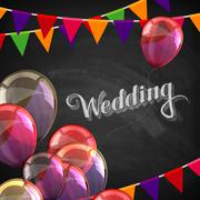 chalk illustration of Wedding label with balloons and flags - stock illustration