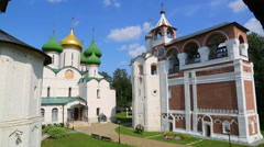 Transfiguration Cathedral and bell tower in Suzdal, Russia Stock Footage